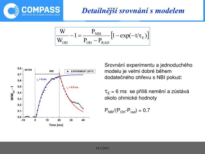 Detailnější srovnání s modelem