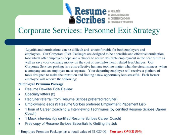 Corporate services personnel exit strategy