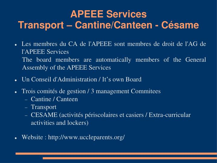 Apeee services transport cantine canteen c same