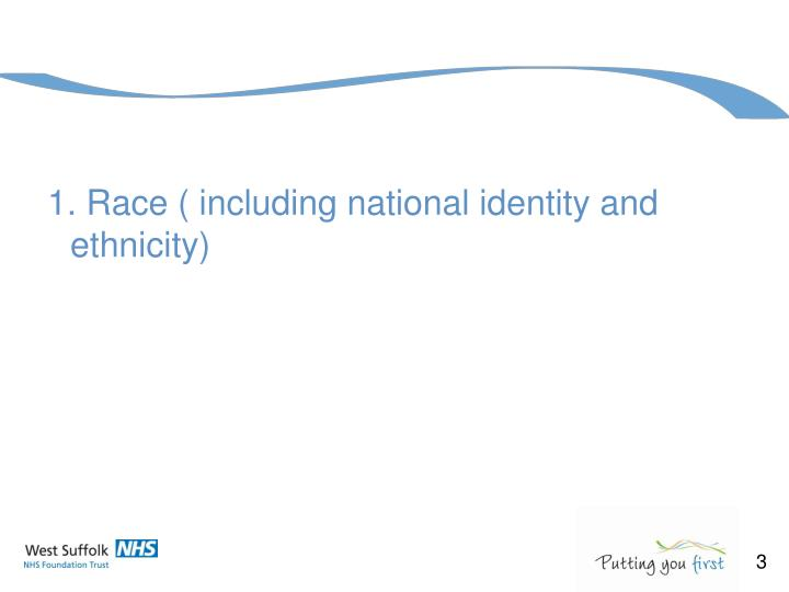 1. Race ( including national identity and ethnicity)