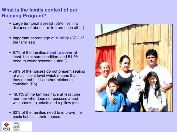 What is the family context of our Housing Program?