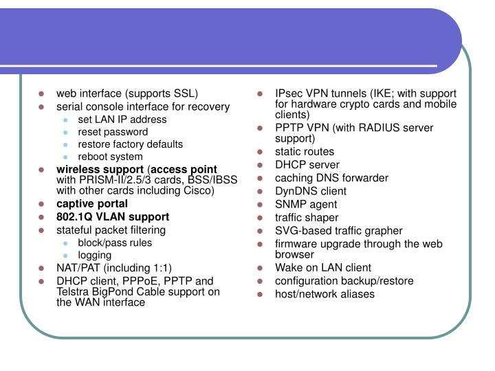 web interface (supports SSL)