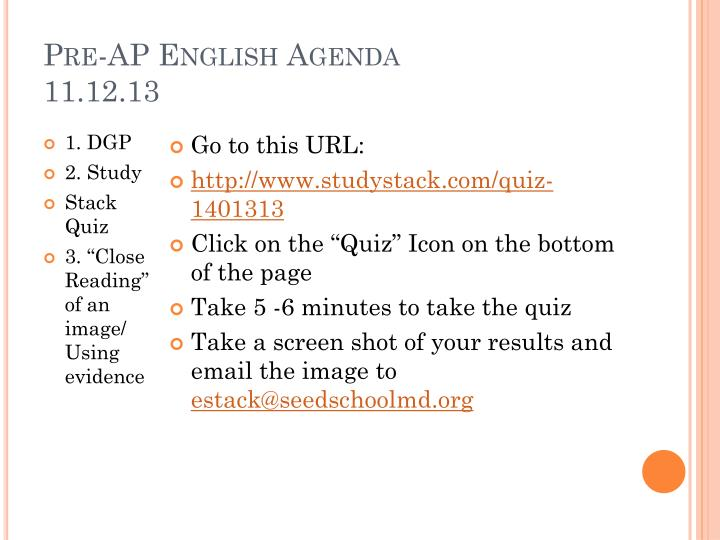 Pre-AP English Agenda