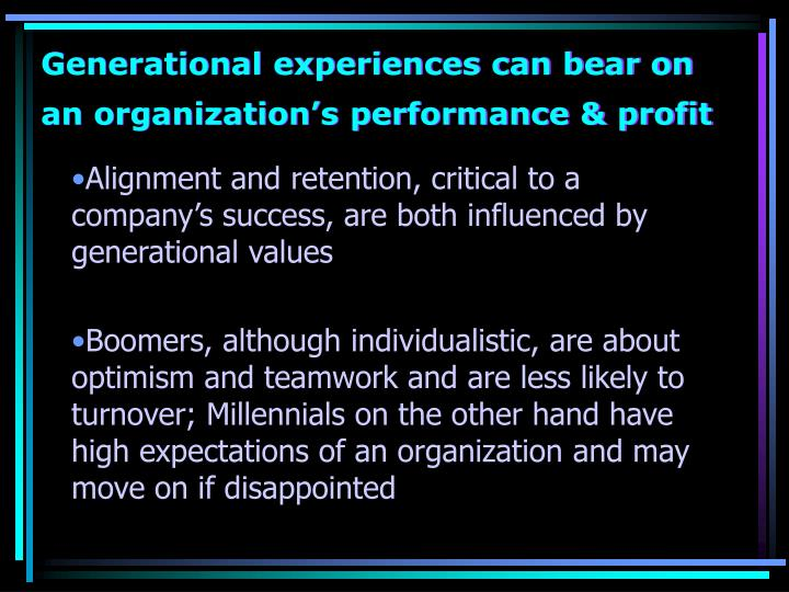 Generational experiences can bear on  an organization's performance & profit