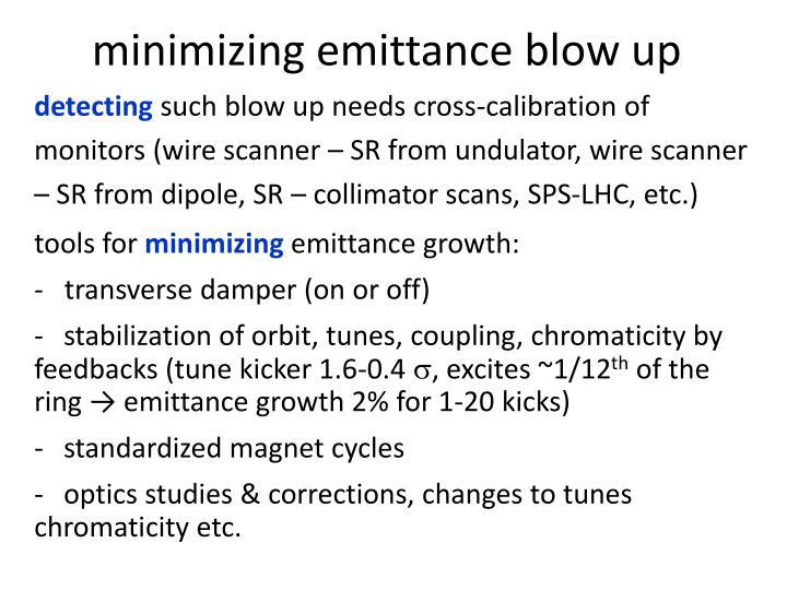 minimizing emittance blow up
