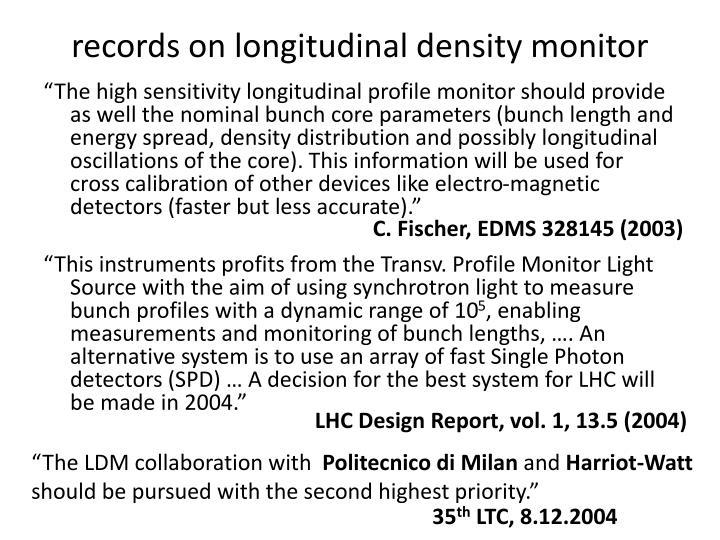 records on longitudinal density monitor