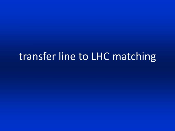 transfer line to LHC matching