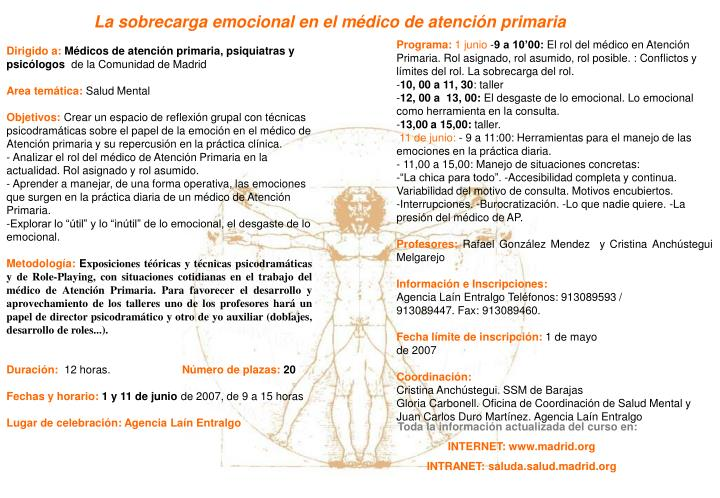 La sobrecarga emocional en el médico de atención primaria