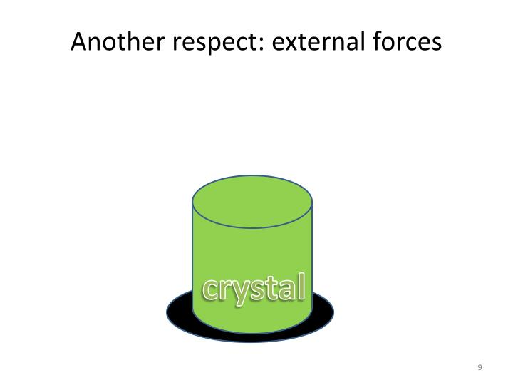 Another respect: external forces
