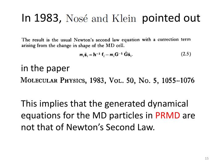 In 1983, Nose and Klein pointed out
