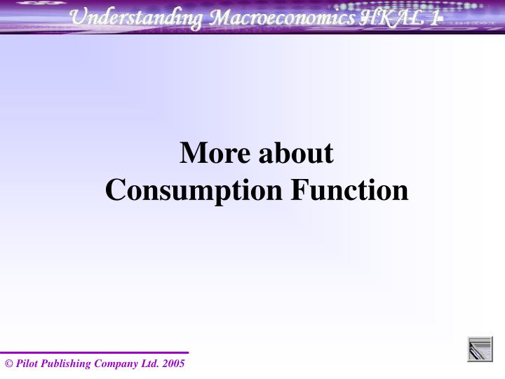 More about Consumption Function