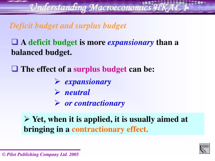 Deficit budget and surplus budget