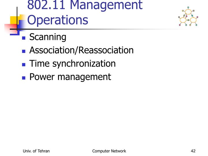802.11 Management Operations