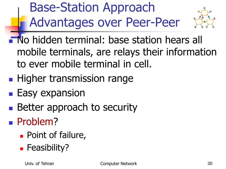 Base-Station Approach Advantages over Peer-Peer