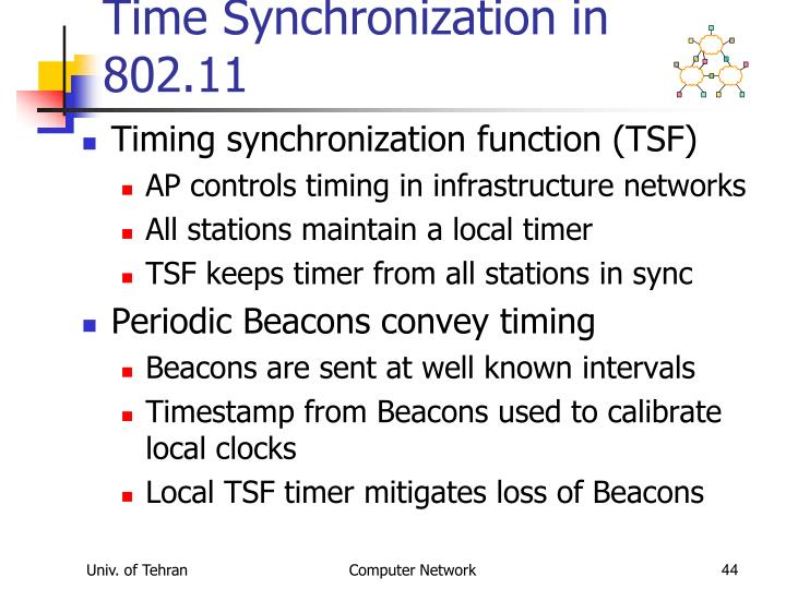 Time Synchronization in 802.11
