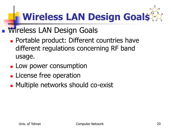 Wireless LAN Design Goals