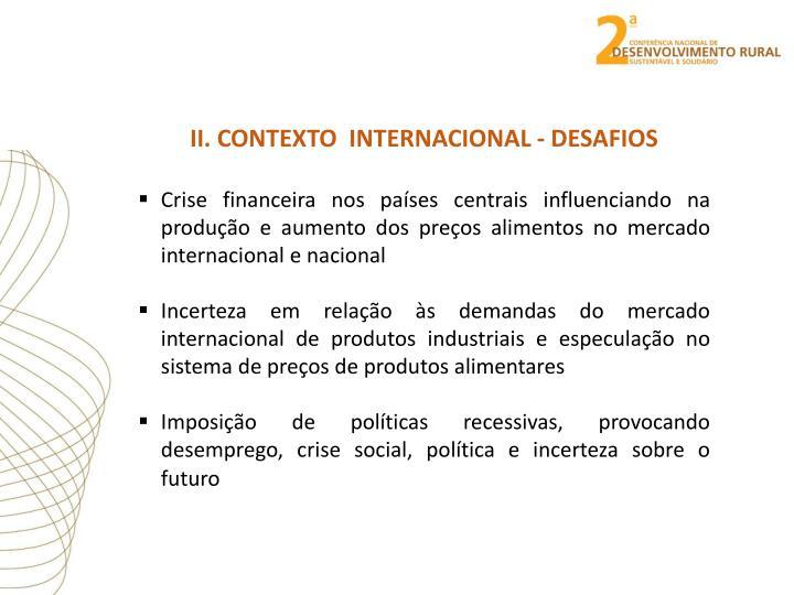 II. CONTEXTO  INTERNACIONAL - DESAFIOS