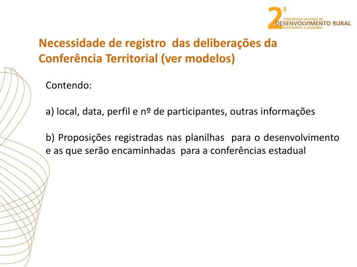 Necessidade de registro  das deliberações da Conferência Territorial (ver modelos)