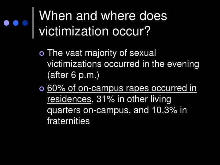 When and where does victimization occur?