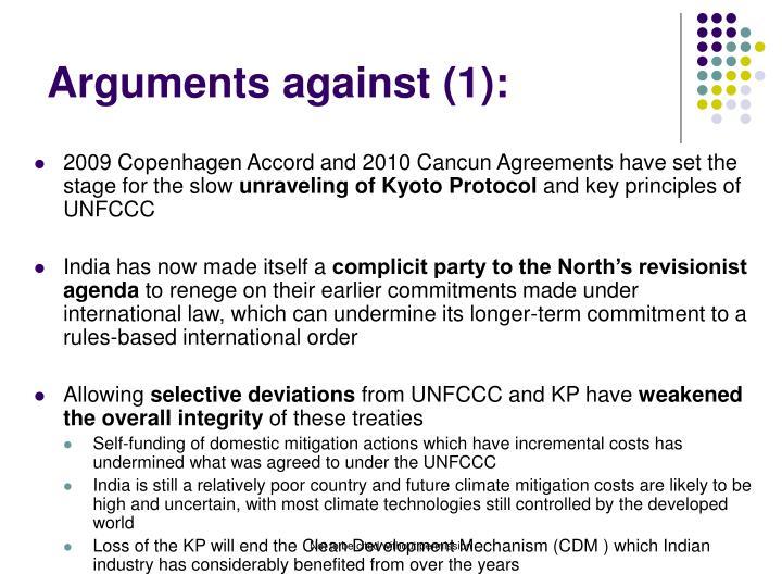 Arguments against (1):