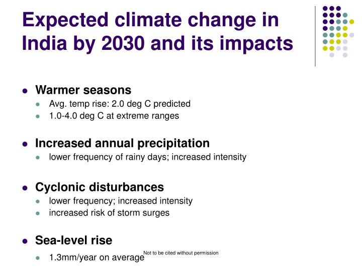 Expected climate change in India by 2030 and its impacts