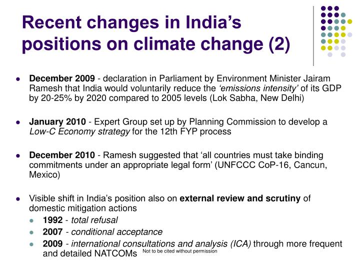 Recent changes in India's positions on climate change (2)