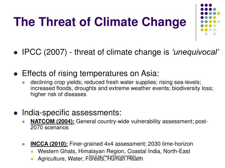 The threat of climate change