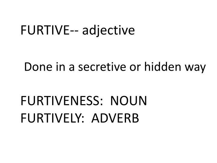FURTIVE-- adjective