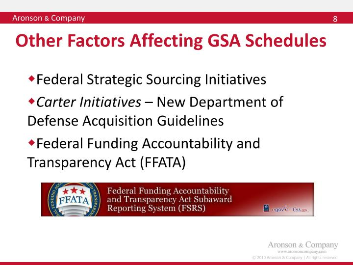 Other Factors Affecting GSA Schedules