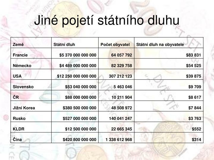 Jiné pojetí státního dluhu