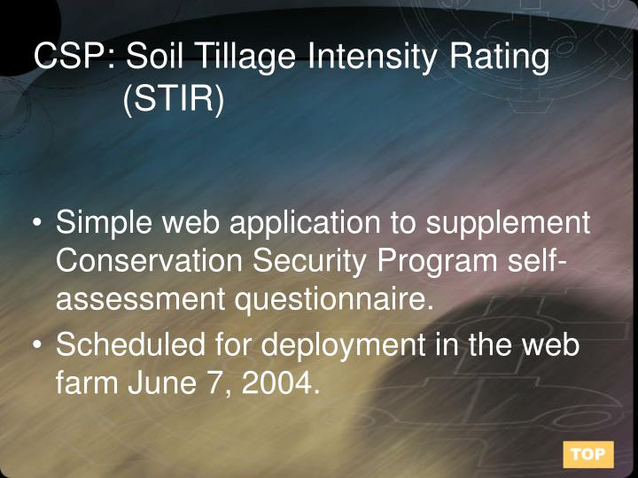 CSP: Soil Tillage Intensity Rating