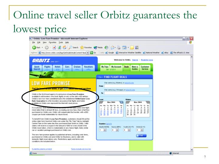 Online travel seller Orbitz guarantees the lowest price