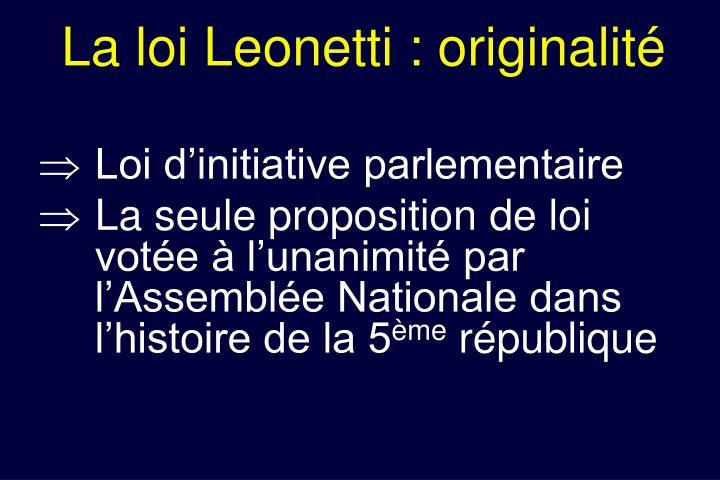 La loi Leonetti : originalité