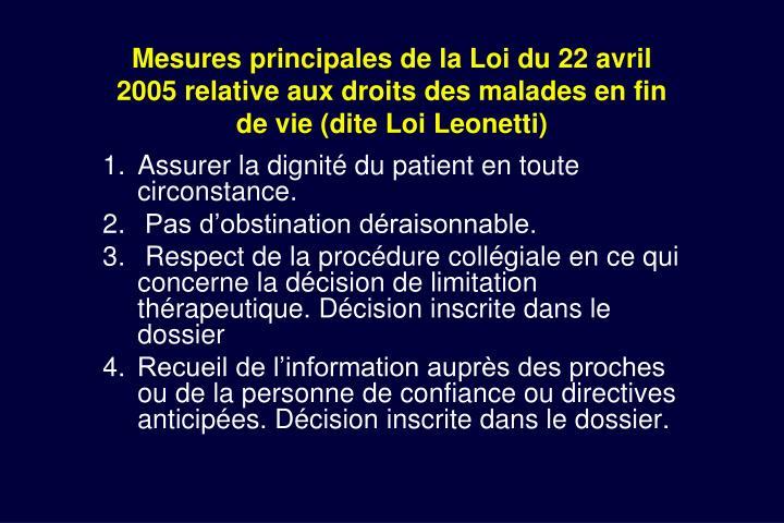 Mesures principales de la Loi du 22 avril 2005 relative aux droits des malades en fin de vie (dite Loi Leonetti)