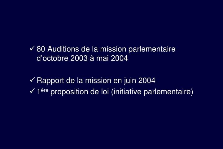 80 Auditions de la mission parlementaire d'octobre 2003 à mai 2004