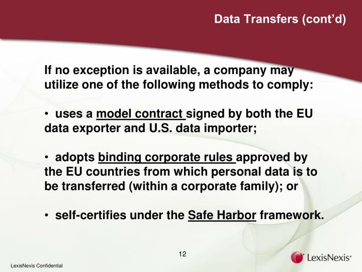 Data Transfers (cont'd)