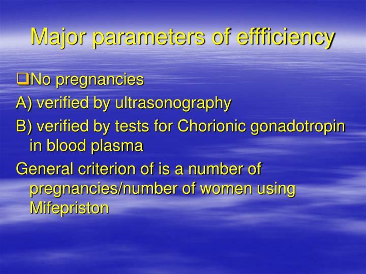 Major parameters of effficiency