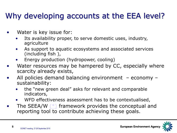 Why developing accounts at the EEA level?