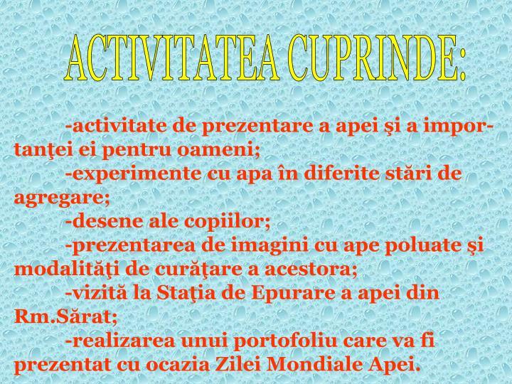 ACTIVITATEA CUPRINDE: