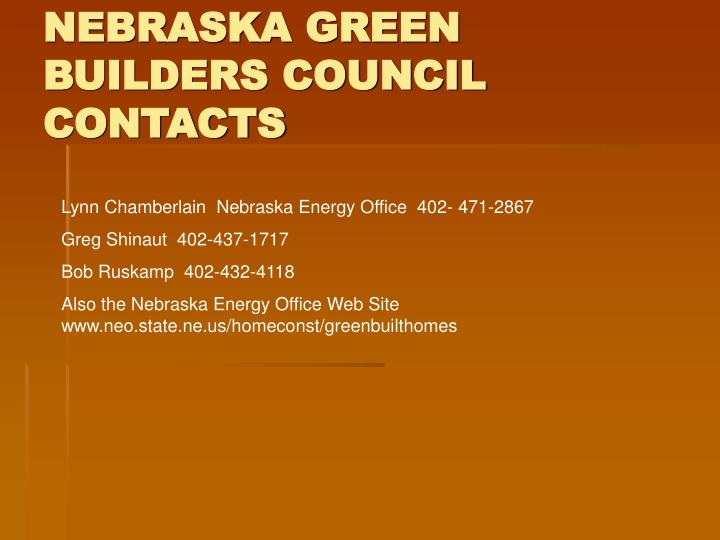 NEBRASKA GREEN BUILDERS COUNCIL CONTACTS