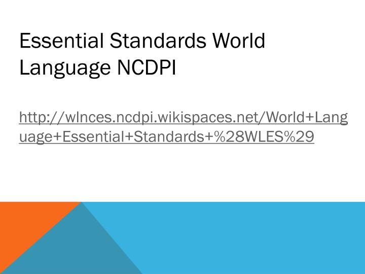 Essential Standards World Language NCDPI