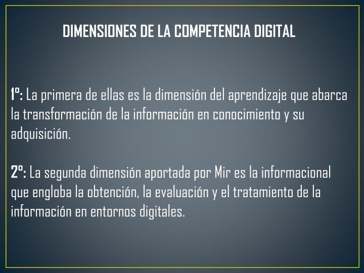 DIMENSIONES DE LA COMPETENCIA DIGITAL