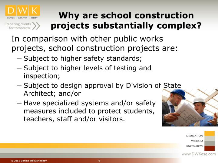 Why are school construction projects substantially complex?