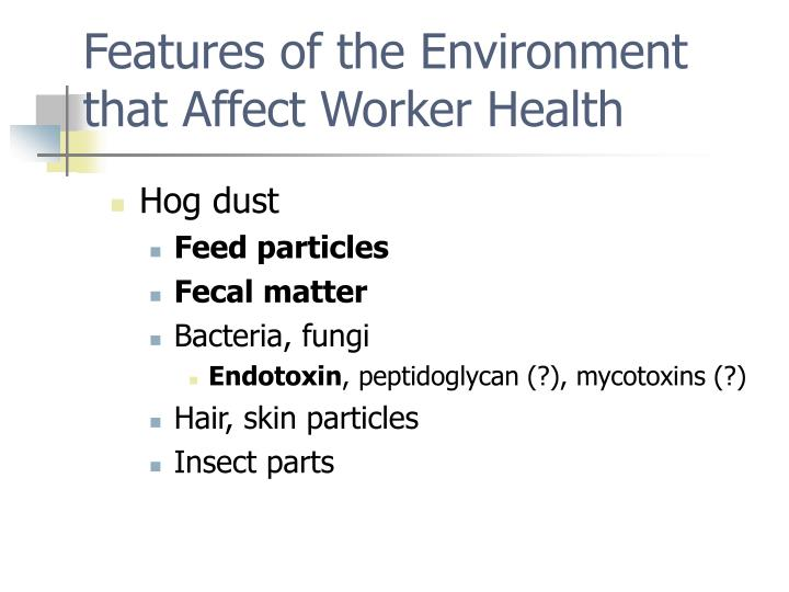 Features of the Environment that Affect Worker Health