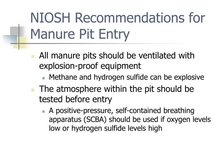 NIOSH Recommendations for Manure Pit Entry