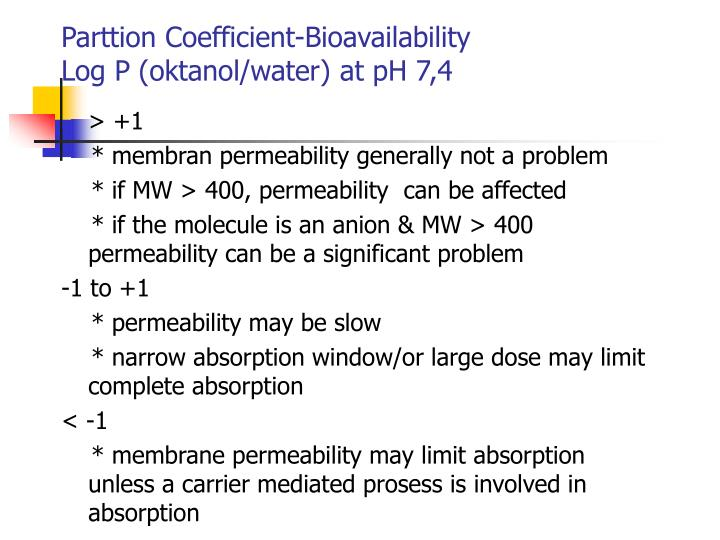 Parttion Coefficient-Bioavailability