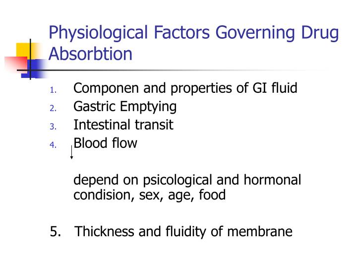 Physiological Factors Governing Drug Absorbtion
