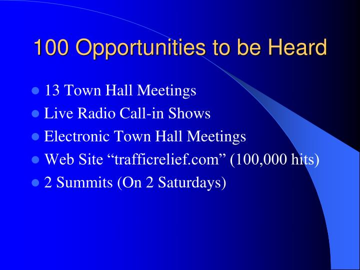 100 opportunities to be heard