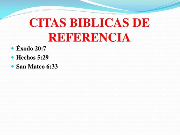 CITAS BIBLICAS DE REFERENCIA