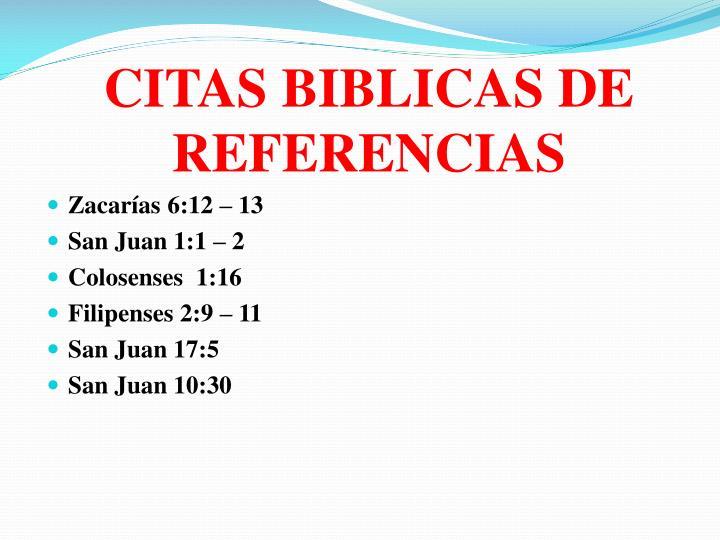 CITAS BIBLICAS DE REFERENCIAS